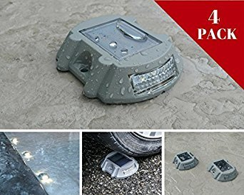 Solar Deck Lights by NuHome 4 Pack Die Cast Aluminum LED, Dock, Deck, Pathway, Driveway Marker Lights 6 LEDs