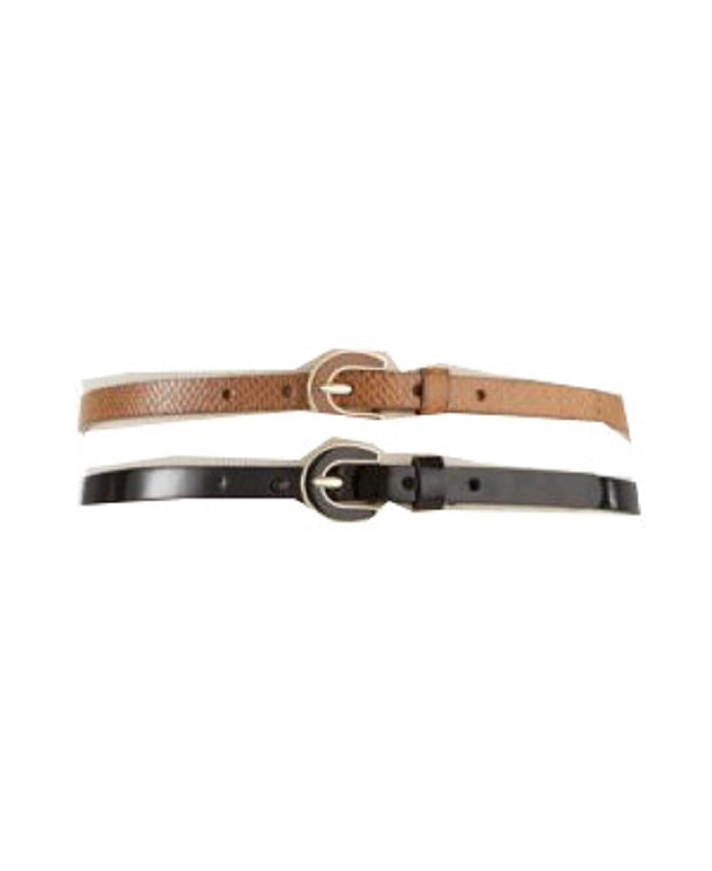Style & co. 2 for 1 Enamel Buckle Belt, Cognac/Black,