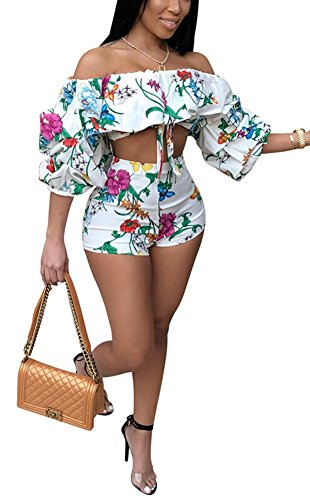 Women Sexy Two Piece Romper Outfits Pull Sleeve Floral Off Shoulder Crop Top Short Pants Set