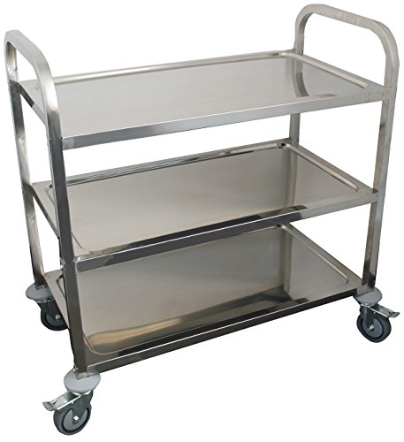 AmGood Stainless Steel Dining Cart - 3 Shelf Heavy Duty Utility Cart on Wheels (Large - 38'' Legth x 20'' Width) by AmGood