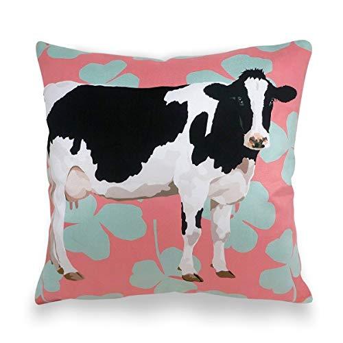 Leslie Gerry - Funda de cojín, diseño de Vaca: Amazon.es: Hogar