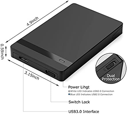 AGPTEK Caja de Disco Duro, Caja Funda de Protección Disco Duro Externo USB 3.0 de 2.5 Pulgadas 7mm 9.5mm SATA-I, SATA-II, SATA-III, HDD y SSD, ...