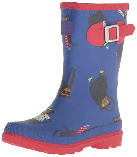 Joules Boys' Jnrboyswelly Rain Boot, Dazzling Blue Monkey, 2 M US Little Kid