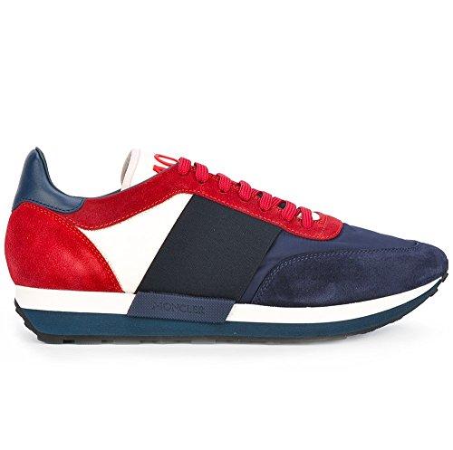 Moncler Sneakers Scarpe Uomo in Tessuto e Camoscio Modello Horace Blu + Rosso (42 EU - 8 UK)