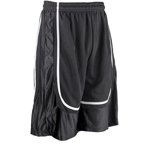 Basketball Mens Shorts (Better Wear Basketball Shorts for Men L Black/White stripe)