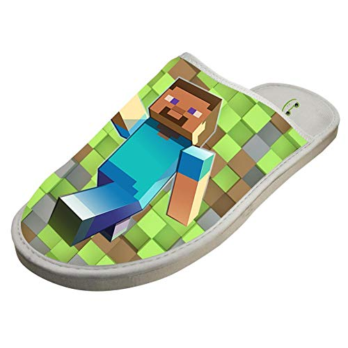 (BESTY Mine-craft Characters Closed Toe Cotton Slippers Warm Soft Indoor Shoes Non-watertight 12 B(M))