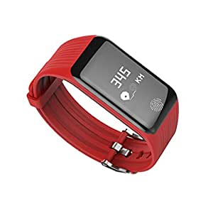 Dovewill Waterproof Fitness Tracker K1 Smart Band Watch Call Remind Sleep Monitor Red