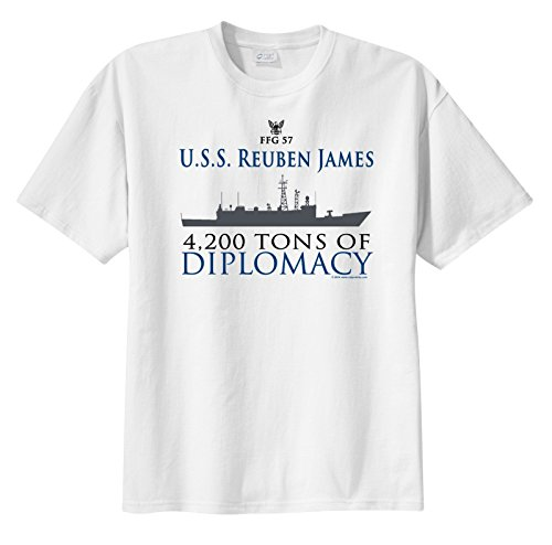 ShipShirts™ Men's FFG 57 USS Reuben James 4,200 tons of Diplomacy Sleeve T-Shirt White S James Cap Sleeve T-shirt
