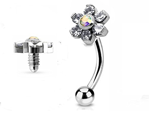 Jeweled Jewelry (Jeweled Twin Daisy Flowers Spinal Barbell Christina Vertical Hood VCH Jewelry Genital Piercing 1/2)