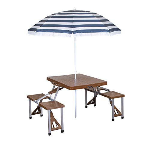 Stansport Picnic Table and Umbrella Combo, Brown Woodgrain (Renewed)
