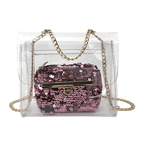 Mujer Bolso Sense Pink Bolso Transparente para Pink para Dama Claro Jelly Transparente CIItqxwz