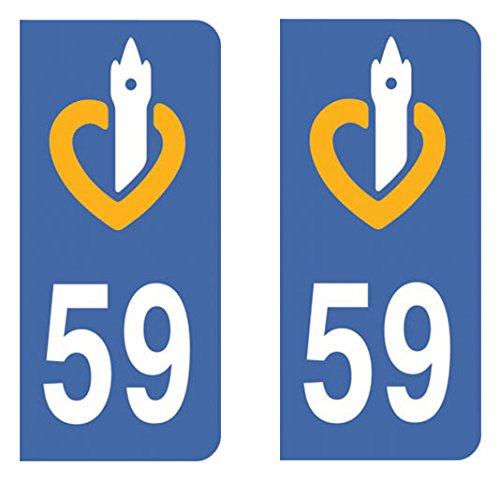 Paire Sticker immatriculation 59 - Nord Autocollant-immatriculation