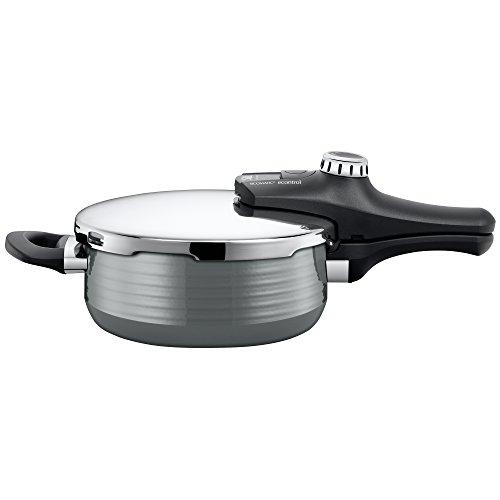 Silit Sicomatic econtrol Schnellkochtopf 3,0l, Silargan Funktionskeramik, 3 Kochstufen Einhand-Drehregler induktionsgeeignet, spülmaschinengeeignet, grau, Ø 22 cm