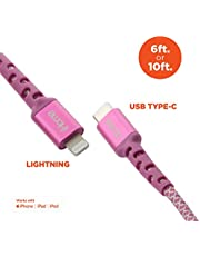 Ultra-Fast Charging Cable: iHome 10 Ft Mfi Certified USB-C to Lightning Nylon Braided Charging Cable, Supports Power Delivery- Compatible for iPhone X/XR/XS/Max/8/Plus/7/Plus/Ipad Pro, Pink