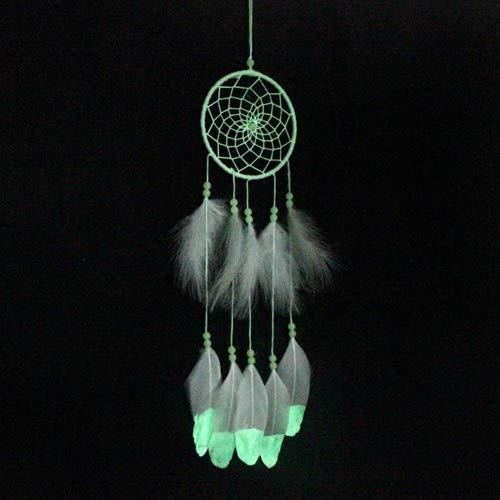 Dream Catcher Glow in the Dark with Beads & Feather Tassel Fluorescent Handmade Dreamcatcher Baby Shower Decoration Girls Room Decor Hanging Kids Gift, White -
