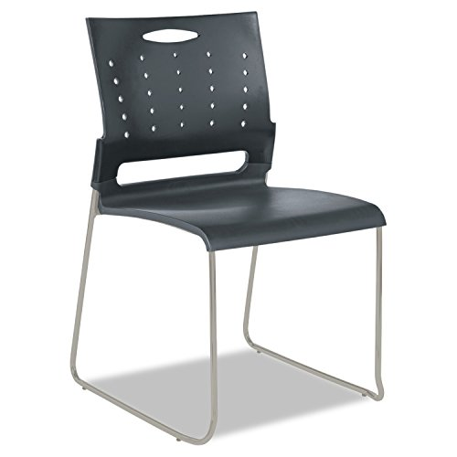 Alera ALESC6546 Continental Series Perforated Back Stacking Chairs, Charcoal Gray Case of 4