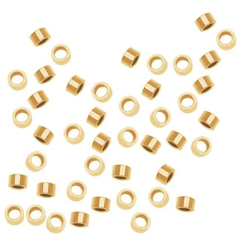 14K Gold Filled Crimp Beads 2 x 1mm - Filled Crimp Beads Tube Gold