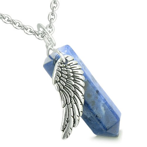 Angel Wing Archangel Gabriel Magic Wand Crystal Point Sodalite Pendant 18 Inch Necklace