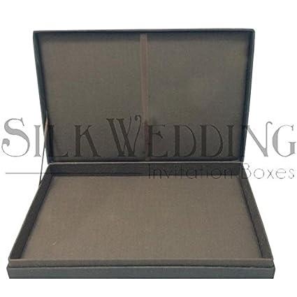 Amazon Chocolate Brown Hinged Lid Silk Wedding Invitation Box
