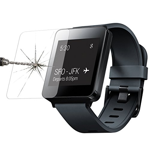 Moonmini Premium Real 0.2mm Tempered Glass Screen Film Protector for Smart LG G Watch Smart Watch Moto 360 (Smart LG G Watch)