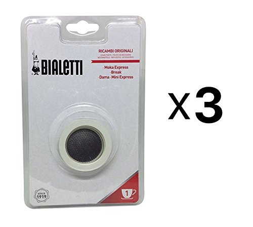 Bialetti 1 Cup Stovetop Moka Express Replacement Gasket Seal Rubber (3-Pack)