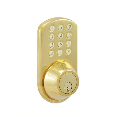 MORNING INDUSTRY INC HF-01P Touchpad Electronic Dead Bolt, Polished Brass Morning Industry