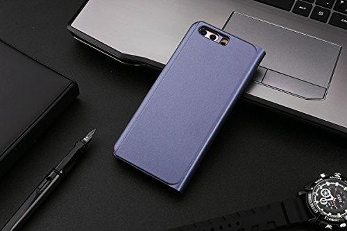 Huawei P10 Caso, Espejo Smart Clear View Window and ,Clamshell, Soporte plegable, Adecuado para Huawei P10 (5.1-Pulgada Púrpura) + 1 x HD Protector de pantalla Púrpura
