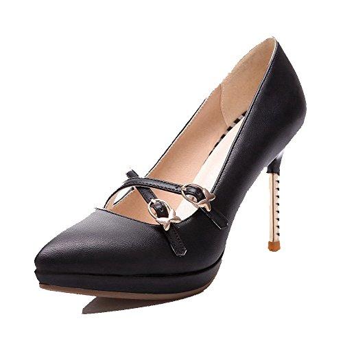 Rilevare Pompa Molle Inarcamento Materiale alti Punta Nero Chiusa calzature Femminile Allhqfashion Solido UIfwI