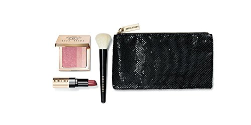 (Bobbi Brown Luxe Collection 4 Pc Gift Set: Rose Pink Brightening Blush + Soft Berry Luxe Lip Color Lipstick + Face Blender Brush + Luxury Cosmetics Bag + Hydrating Face Cream Sample Packette)