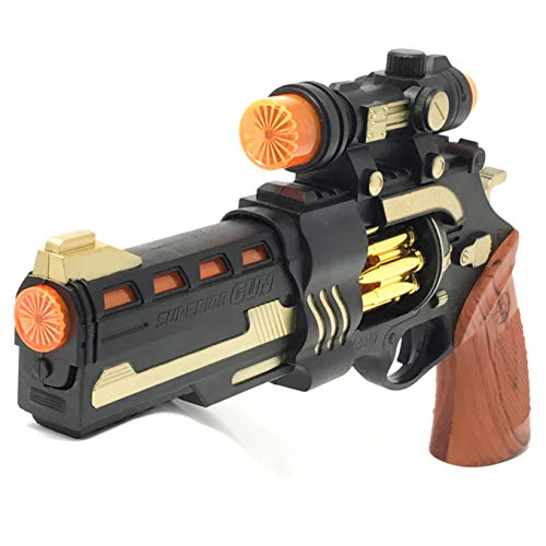 UMBRELLALABORATORY Steampunk Toy Gun Theater Prop Revolver with Spinning Lights Handpainted Cosplay Costume -