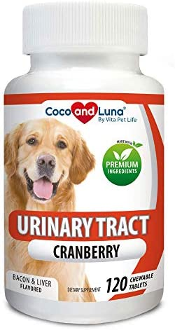 Cranberry for Dogs – Urinary Tract Support, Prevents UTI, Bladder Infections, Bladder Stones and Dog Incontinence. Antibacterial – 120 Natural Chew-able Tablets.