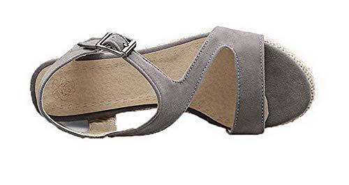 Femme Boucle AgooLar d'orteil à Sandales Gris Couleur Haut GMBLB015578 Talon Ouverture Unie RddrXx