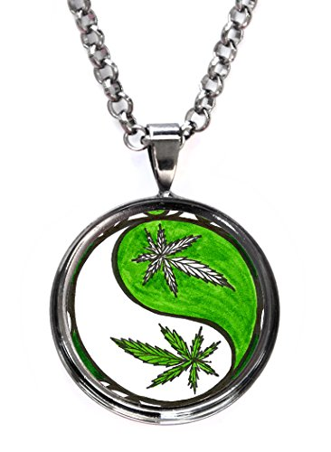 Marijuana Yin Yang Balance Bud Gunmetal Pendant with Chain Necklace