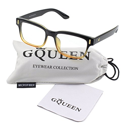 GQUEEN 201584 Modern Fashion Rectangular Bold Thick Frame Clear Lens Eye Glasses,Black - Online Designer Frames