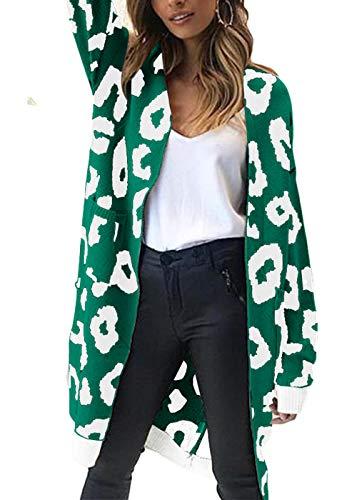 Embellished Velvet Jacket - FAFOFA Women Winter Cardigan Coat Leopard Printed Long Sleeve Open Front Midi Length Sweater Outwear Green M