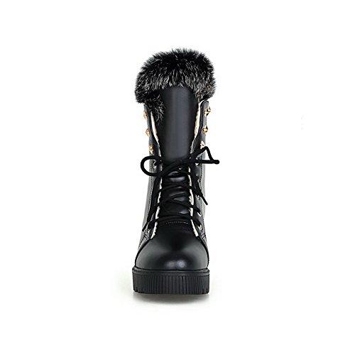AllhqFashion Damen Schnüren Niedriger Absatz PU Leder Eingelegt Niedrig-Spitze Stiefel Schwarz