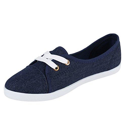 Klassische Damen Ballerinas Sportliche Stoffschuhe Slipper Flats Sneakers Slip-ons viele Farben Flandell Denim Blau