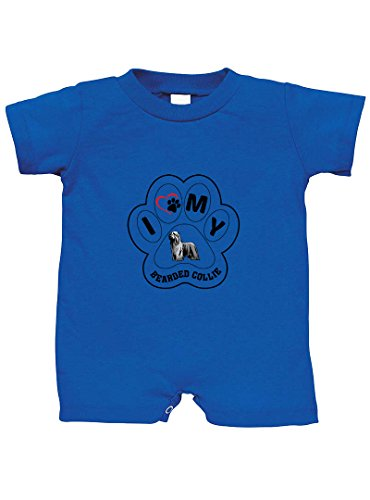 Bearded Collie Dog I PAW My 100% Cotton Infant Baby Jersey Tee T-Romper Royal Blue 12 Months