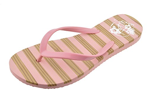 Fashion Ladies Stripe 6 Flop Jack Teak 11 Panama Flip Pink to Sandals Beach Size ZqfnHAwxx