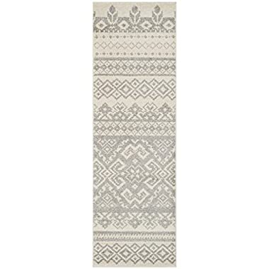 Safavieh Adirondack Collection ADR107B Ivory and Silver Runner, 2 feet 6 inches by 6 feet (2'6  x 6')
