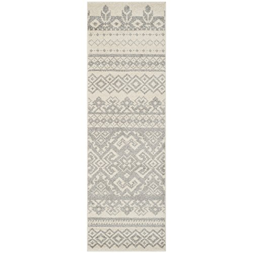 Safavieh Adirondack Collection ADR107B Ivory and Silver Rustic Bohemian Runner (26 x 12)