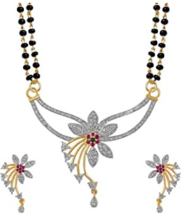 Navya Gold Plating Alloy American Diamonds Studded Mangalsutra Set for Women