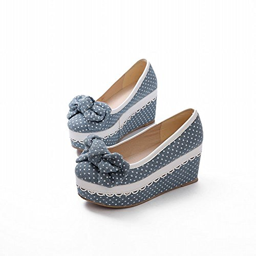 Latasa Womens Cute Chic Polka-dots Bow Platform Shoes, Wedge Pumps Shoes, Espadrille Shoes Light Blue