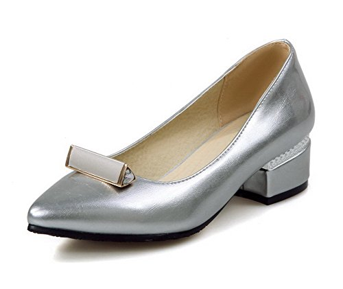 VogueZone009 Women's Pointed Closed Toe Low-Heels PU Solid Pull-On Pumps-Shoes Silver kdqAaWc4