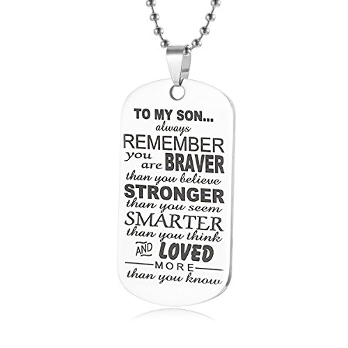 Always Remember To My Son Dog Tag Gifts From Dad Mom Parents Necklace Military Chain Air Force Pendant