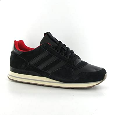 brand new ccbde 3a5f5 Adidas ZX 500 LEA Black Leather Mens Trainers Size 9 UK ...