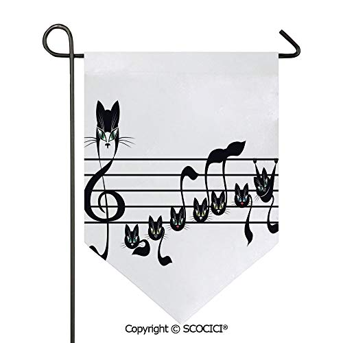 SCOCICI Easy Clean Durable Charming 28x40in Garden Flag Notes Kittens Kitty Cat Artwork Notation Tune Children Halloween Stylized, Double Sided Printed,Flag Pole NOT Included -