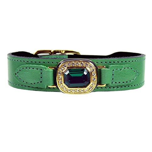 Hartman & Rose Haute Couture Octagon Collection Dog Collar, Kelly Green, 16-18-Inch