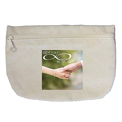 Couples Holding Hands and Loving Infinity and Beyond Cotton Canvas Makeup Bag by Style In Print
