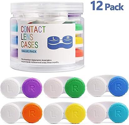 Estuche Lentillas 12 pack, Opret Caja de Lente de Contacto Portatil para Viaje Tamano de Bolsillo con un Tarro de Almacenamiento (6 Colores): Amazon.es: Salud y cuidado personal